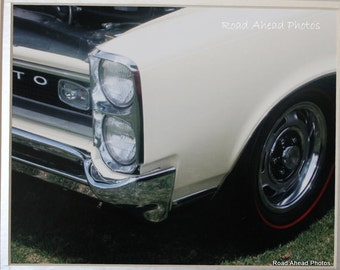 8 x 10 matted photo,  1966 GTO, classic car, white