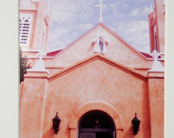5 x 7 matted photo. San Felipe Church, Old Town Albuquerque