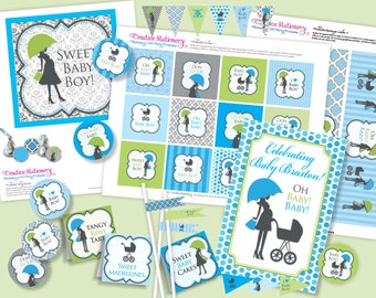 BOY Oh Baby Chic Shower DIY Party Printables Package. Blue, Green, Black and White. Party Printables customized just for you.