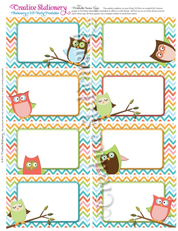 Items similar to owl baby shower name tags orange green for Locker tag templates