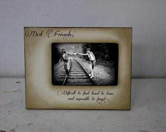Distressed Vintage Picture Best Friend Mom Dad Sister Brother 4x6 Photo Frame - Personalized Gift - Keepsake Custom