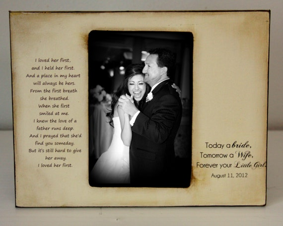 Father Daughter Dance Rustic Distressed Gift Personalized Father of the Bride Wedding Picture Frame 4x6 Keepsake