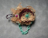SUMMER SALE 30% off-CADENA- vintage lace brooch, recycled/upcycled jewelry, sophisticated accessory, hand sewn