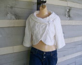 Size 4 to 6 white chenille jacket made from a vintage bedspread, one of a kind for teens and women