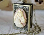 Cameo Horse Book Locket, Long Chain Horse Locket Necklace, Equestrian Jewelry