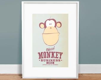 "Monkey Business - 13"" x 19"" Vintage Poster - Retro Art Print - Children Decor"