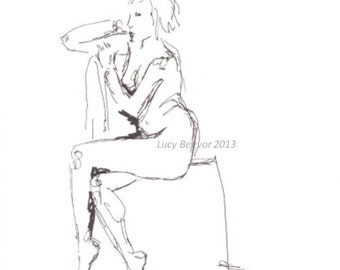 "Ink Drawing Original - Sitting Woman ""Pensive"""