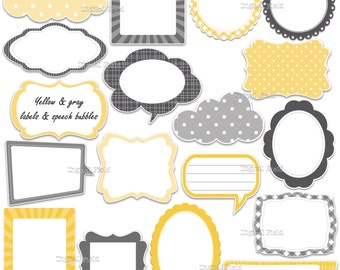 Yellow and gray labels - frames and speech bubbles clip art set - printable digital clipart - instant download