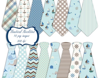 Nautical necktie clip art set - blue brown green printable digital clipart - instant download