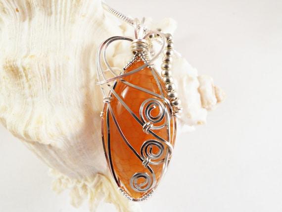 Wire Wrapped Stone Pendant, Orange Dragon Vein Agate, Handmade Jewelry