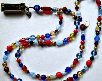 Red and Blue Beaded Harmonica Necklace