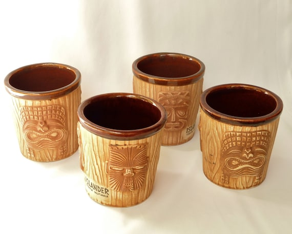 vintage tiki mugs 60s tropical barware set islander of