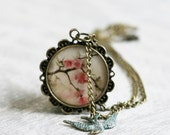 Spring blossom necklace photo jewelry floral necklace with little blue bird charm