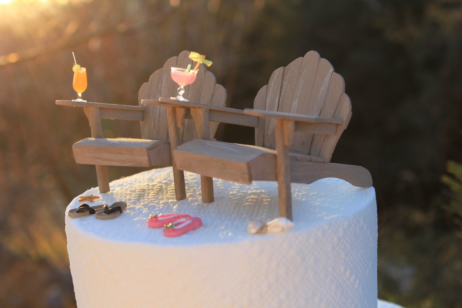 Beach Theme Wedding Cake Topper Adirondack Chairs amp Flip Flops