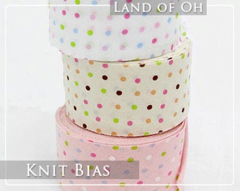 Cotton Knit Bias Tape in 3 Colors 4 cm Wide (1.6 inch) - 26350