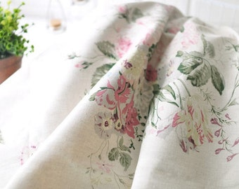 "Cotton Linen Vintage Roses - Natural - per Yard (55 x 36"") 27897"