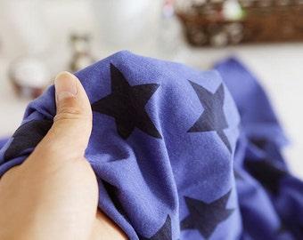 """Cotton Jersey Knit Stars - Blue - per Yard (59 x 36"""") 37676 - 227"""