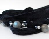 Labradorite Navy Blue Silk and Stone Wrap Bracelet