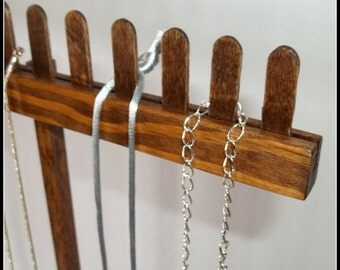 Wood Long Chain Necklace Display - Stained - Tall