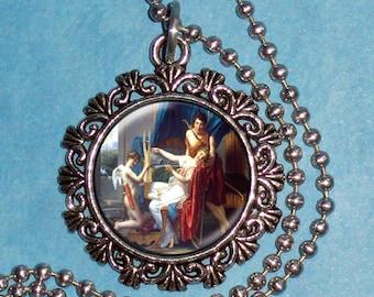Sappho and Phaon Art Pendant, Cupid and Ancient Greek Couple Resin Pendant, Jacques-Louis David Art, Photo Pendant Charm