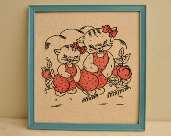 Vintage Needlepoint of Mama Cat and her Kitten in the Garden Pink Dress Turquoise Frame