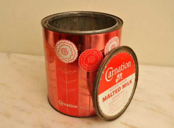 Rare Mid Century Carnation Malted Milk Tin with Lid Red White with Flowers