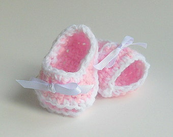 Newborn To 3 Month Baby Girl Pink Booties Adoption Gender Grandparents Pregnancy Reveal  Infant Summer Sandals Pastel  Spring  Crib Shoes