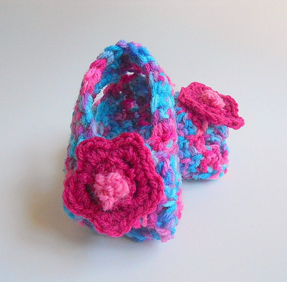 Baby Girl Sandals 3 To 6 Months Infant Summer Booties Purple Blue With Bright Pink Flower Ready To Ship