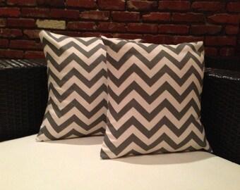 Gray & cream chevron pillow covers (set of 2)
