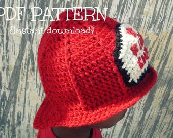 Crochet fireman hat pattern, Crochet hat pattern, costume hat, 3 sizes - baby, child and adult, Pattern No. 8
