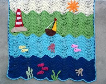 Crochet baby blanket, crochet ripple blanket pattern, baby blanket pattern, waterworld ripple baby blanket, Pattern no. 67