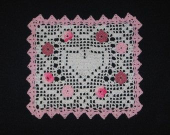 """4889 New Crochet, Pink and White, Hearts and Flowers Doily, 8x9"""""""
