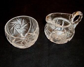 Cream and Sugar Set - Crystal Sugar and Creamer Set - Sugar Bowl - Cream Pitcher