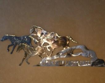 Christian metal wall art sculpture of running horses