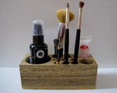 Natural Rustic Mahogany Wood Desk Organizer Office Organizer Pencil Small Tool Caddy Holder or Makeup Organizer - DC