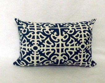 Decorative Throw Pillow, 12x16,12 x18 Lumbar Pillow, Blue Parterre Toss Pillow, Accent Pillow, Sofa Pillow