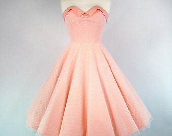 Made To Measure Full Circle Skirt Peach Cotton And Lace Prom Dress - Detachable Straps & Belt