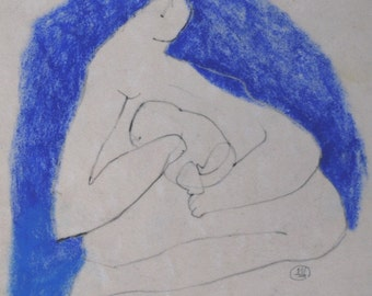 Mother and Child ART - ORIGINAL ABSTRACT Drawing - Figurative art - blue and white art , mom and baby , new mom gift