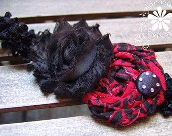 Black & Red Damask headband - Shabby Chic Headband - Boutique Style Elastic Headband -Black - Red Headband -Fits girls to adults