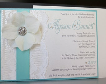 ANDREA: Turquoise Themed Wedding Shower Invitation, Turquoise Bridal Shower Invitation, Baby Shower Invitation