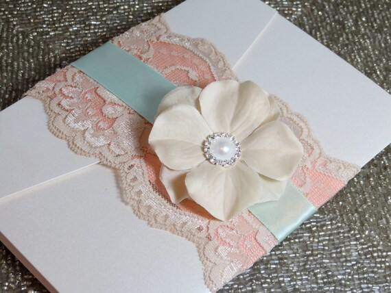 Shabby Chic Wedding Invtation - Customizable - Mint and Peach