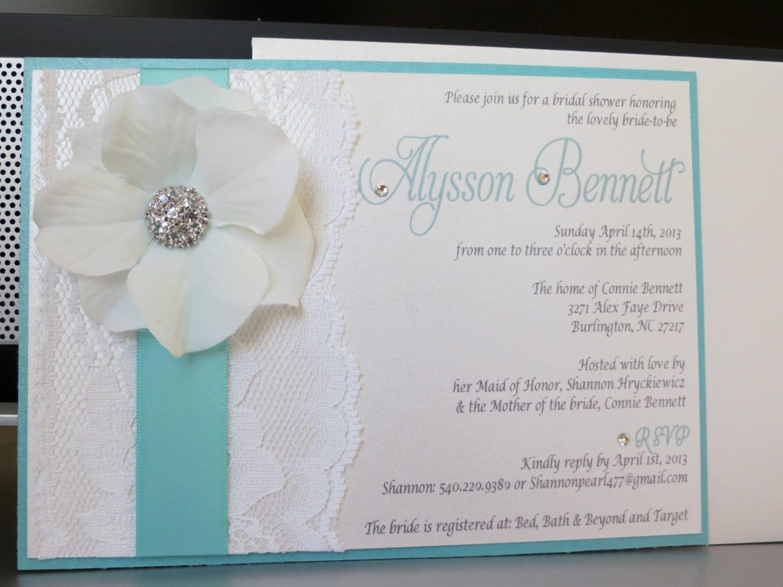 Andrea Turquoise Themed Wedding Shower Invitation Turquoise
