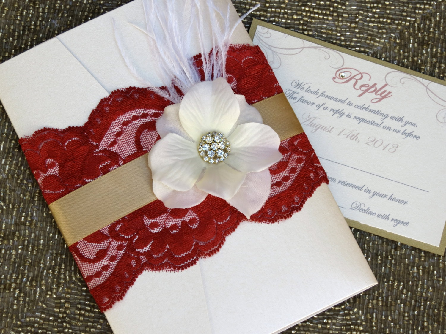 Vintage glamour deep red and gold lace pocketfold wedding zoom junglespirit Choice Image
