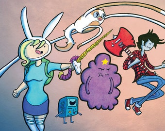 Adventure Time Fionna with Unicorn Sword and Cake Finn and Jake Gender Bent Digital Art Print 11x17