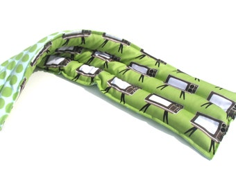 Extra Long Pain In The Neck, Aromatherapy Microwavable Flax Seed Heat Pack, Green Retro TV, Mint, Aqua Dot Flannel