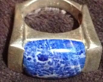 Large Vintage Sterling Silver & Sodalite Ring