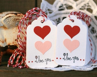 Valentine Gift Tags - Set of 12 - Two Hearts I Love You