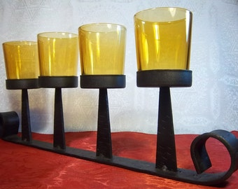 Unique Black Wrought Iron and Amber Glass Votive Cup Candle Holder - Vintage Home Decor