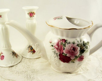 English Garden Watering Pitcher MaryLeigh Pottery, Pair of Porcelain Candlesticks, Roses