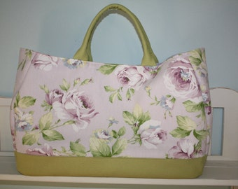 Large Purple, Lavender, Green and White Rose Floral Beach Tote